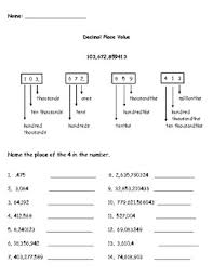 place value with decimals worksheets 5th grade free worksheets place value and value worksheets free math
