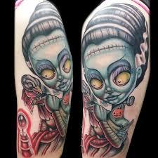 new school water tattoo bride of frankenstein tattoo by adam aguas tattoonow