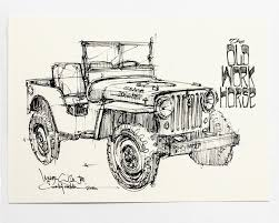 jeep drawing the curb shop chris piscitelli willys jeep print