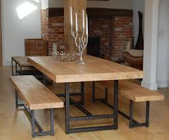 solid oak dining room sets solid oak thick narrow dining table black iron legs have candles