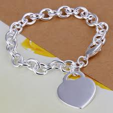 silver bracelet with heart charm images Fashion copper flat heart thick charm bracelet with 925 sterling jpg