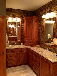 Rustic Bathrooms Elegantly Rustic Master Bathroom With Dry Stacked Stone Backsplash