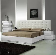 Contemporary Beds White Modern Platform Bed With Leather Headboard