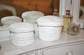 cotton gift ideas crochet christmas gift ideas storage pots in white cotton
