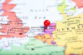 netherland map europe push pin on map of netherlands stock photo image 47254804