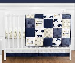 Navy Blue And White Crib Bedding Set Navy Blue Gold And White Patchwork Big Boy Baby Crib