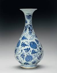 Blue Bottle Vase A Very Rare Blue And White Pear Shaped Bottle Vase Yuhuchunping