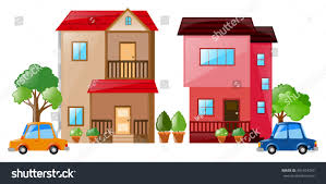 two houses two houses cars each other stock vector 491614255