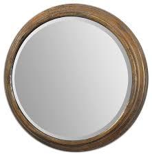 Uttermost Mirror Uttermost 12864 Cerchio Antiqued Gold Round Mirror Traditional