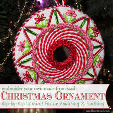 embroidered christmas embroidered christmas ornaments index needlenthread