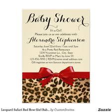 leopard safari red bow baby shower invitation baby shower