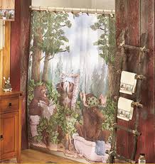 Country Themed Shower Curtains Bear Shower Curtain Laughing Bear Lodge Cabin Country Bathroom