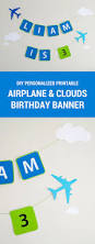 printable airplane personalized birthday party banner modern