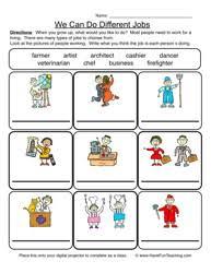 careers worksheet 2 k 1 social studies pinterest