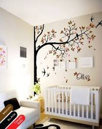 Nursery Wall Mural Decals Nursery Wall Decal Tree Swallows And Baby Name Baby Room Decor