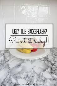 best cheap backsplash tile ideas pinterest painted kitchen tile backsplash cheap and easy update for dated makedoanddiy