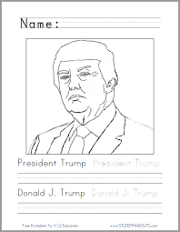 donald trump coloring page student handouts
