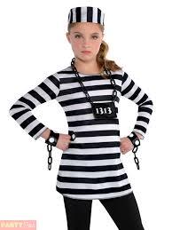 teen halloween costumes childs girls prisoner costume teen convict robber fancy dress