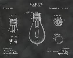 thomas edison light bulb invention 1890 edison light bulb patent print vers 2 wall art thomas