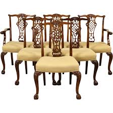 set of 6 georgian chippendale vintage mahogany dining chairs