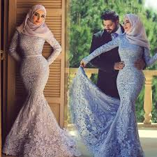 wedding dress for muslim blue purple violet sleeves arabic lace mermaid muslim