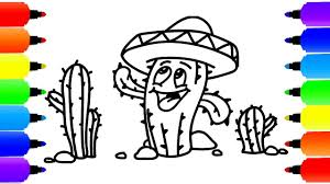 draw coloring book cactus kids colouring art