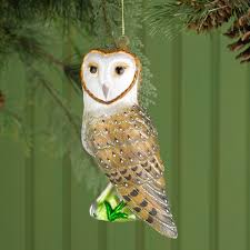 cobane studio barn owl blown glass ornament