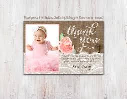 Invitation Cards For Dedication Of A Baby Christening Thank You Card Baptism Thank You Cards Birthday