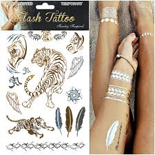 10pcs lot big tiger feather gold silver flash tattoo metallic