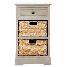 Accent Table With Storage Cabinet With Basket Storage Accent Table Or Night Stand With