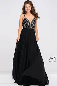 black sheer neckline and spaghetti strap empire waist chiffon prom