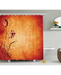 Orange Shower Curtains Shower Curtain Vintage Digital Print For Bathroom