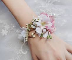 wedding wrist corsage wedding cuff bracelet bridal bracelet pink flower accessory