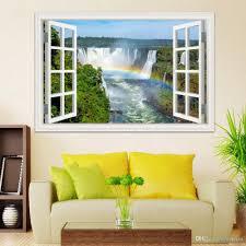 Modern Wall Stickers For Living Room 3d Window Wallpaper Stickers Beautiful Waterfall Landscape Wall