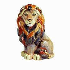 lion figurine ceramic lion figurine de rosa collection sitting lion