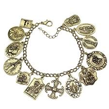 gold chain bracelet with charm images Q q fashion vintage gold plated catholic religious jpg