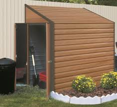 yardsaver 4 u0027x7 u0027 woodgrain arrow small outdoor metal storage shed kit