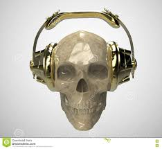 shiny stone human skull with golden studio earphones on render