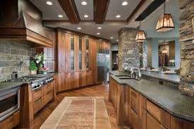Lighting For Beamed Ceilings Walnut Ridge Cabinetry For Rustic Kitchen And Beamed Ceiling