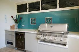 Designer Kitchens Brisbane White Outdoor Kitchen With Blue Glass Splashback Indoor Outdoo