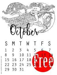 free printable october 2017 calendar fairy tale coloring