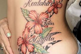 hawaiian tribal flower tattoos