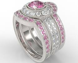 wedding ring trio sets filigree pink sapphire and diamond trio wedding band set vidar