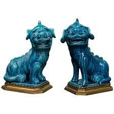 blue foo dogs pair of turquoise glazed foo dogs on ormolu mounts 1780