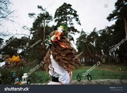 wedding flower veil boho hair green stock photo 414714439