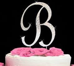 cake topper letters completely covered swarovski monogram wedding