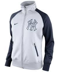 nike women s new york yankees track jacket in white lyst