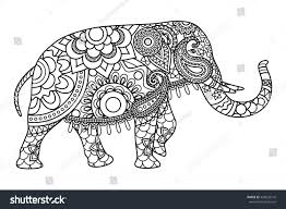 indian elephant coloring pages template vector stock vector
