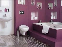 modern small bathroom with awesome and sweet purple white color