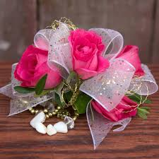 corsage flowers hot pink white ribbon corsage flowers by steen